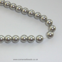 8mm Grey Glass Pearl Round Beads