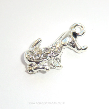 Cute Silver and Rhinestone Dog Charm