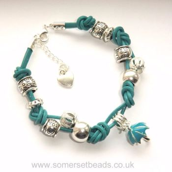 Knotted Leather Cord Bracelet - Aqua