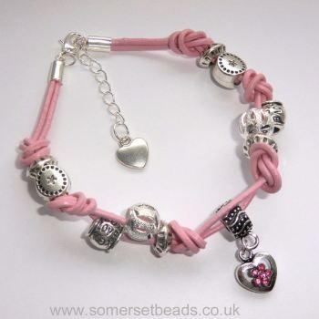 Knotted Leather Bracelet Kit - Pink