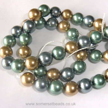 Teal, Gold & Grey 7mm Shell Pearls