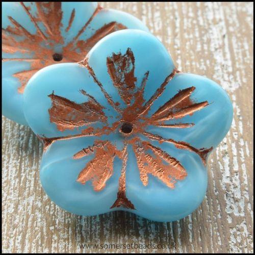 Czech Picasso Flower Blue Shine Capri 23mm Beads