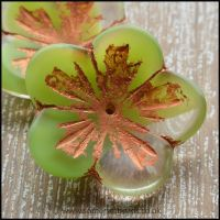 Czech Picasso Flower Green Shine Capri 23mm Beads
