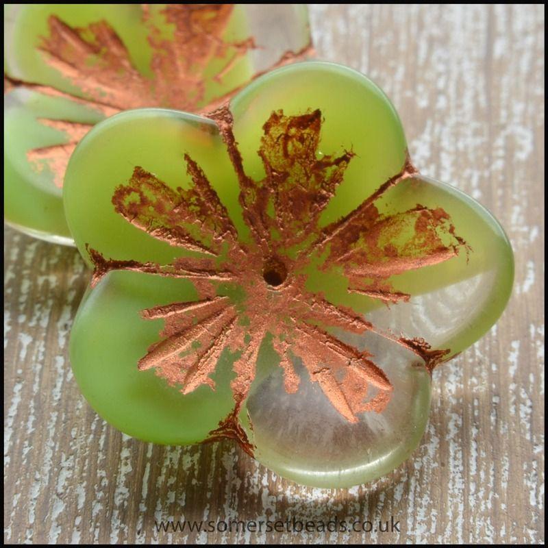 Czech Picasso Flower Green Shine Capri 23mm Beads