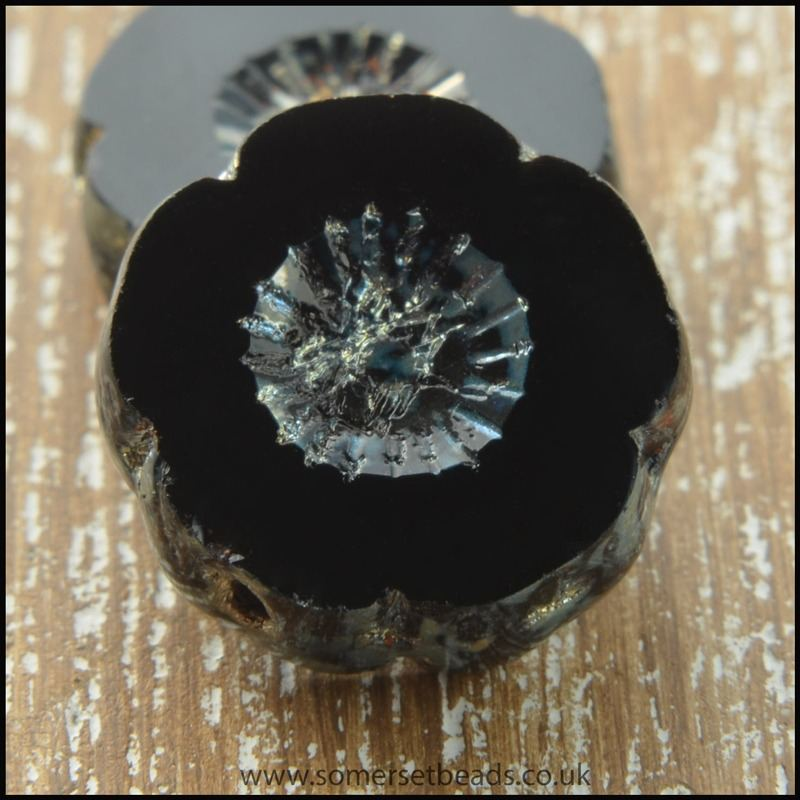 Czech Glass Table Cut Picasso Flower Beads - Black