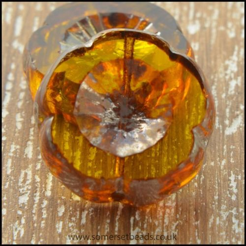 Czech Glass Table Cut Picasso Flower Beads - Dark Gold
