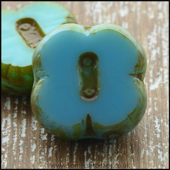 Czech Glass Picasso Table Cut  4 Petal Flower Beads - Turquoise Mix
