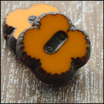 Czech Glass Picasso Table Cut  4 Petal Flower Beads - Pumpkin