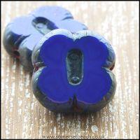 Czech Glass Picasso Table Cut  4 Petal Flower Beads - Dark Denim Blue
