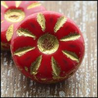 Czech Glass Daisy Beads - Strawberry Red 12mm