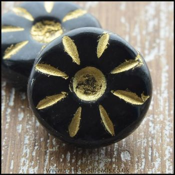 Czech Glass Daisy Beads  12mm, Black, Pk10