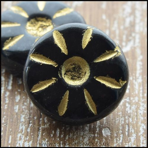 Czech Glass Daisy Beads -  Black 12mm