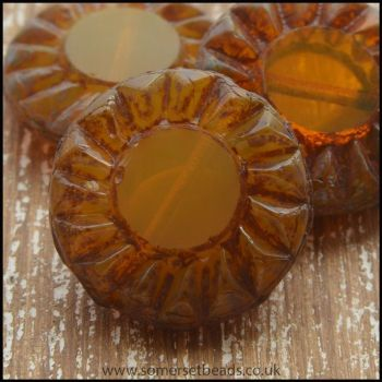 Czech Picasso Sunflower Table Cut 14mm Gold Beads