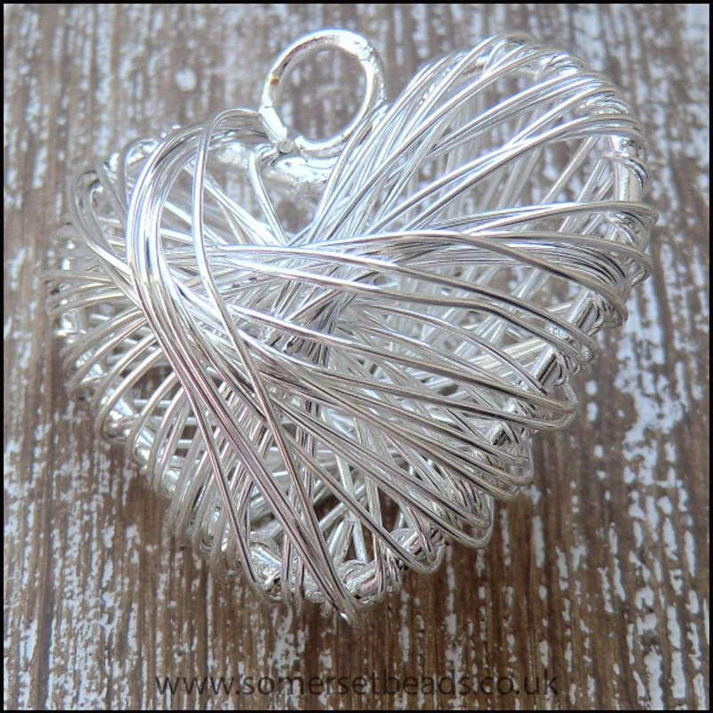 Silver Plated Wire Wrapped Puffy Heart Pendant
