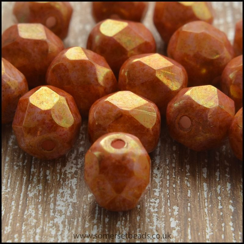 Czech Glass Faceted Fire Polished Beads 6mm Rose Pink Gold Lustre
