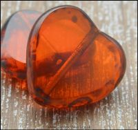 Czech Glass Picasso Table Cut Heart Beads Transparent Orange