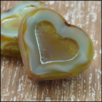 Czech Glass Picasso Heart Beads - Soft Aqua