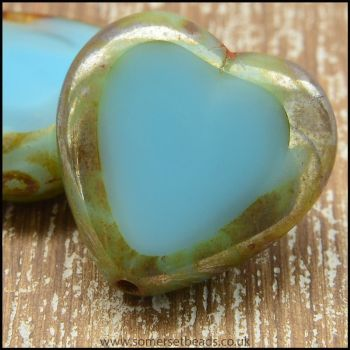 Czech Glass Picasso Table Cut Heart Beads Light Blue
