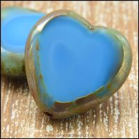 Czech Glass Picasso Table Cut Heart Beads Sky Blue