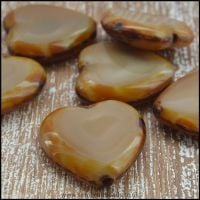 Czech Glass Picasso Table Cut Heart Beads Opaque Coffee