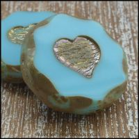 Czech Glass Picasso Heart Coin Beads - Pale Turquoise