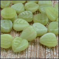 Czech Glass Pressed Leaf Shaped Beads - Green