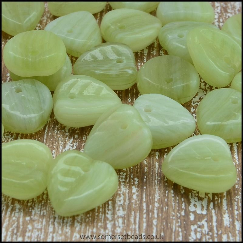 Czech Glass Pressed Leaf Shaped Beads - Green