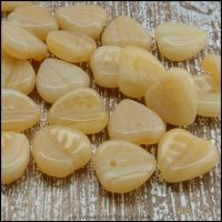 Czech Glass Pressed Leaf Shaped Beads - Buttermilk