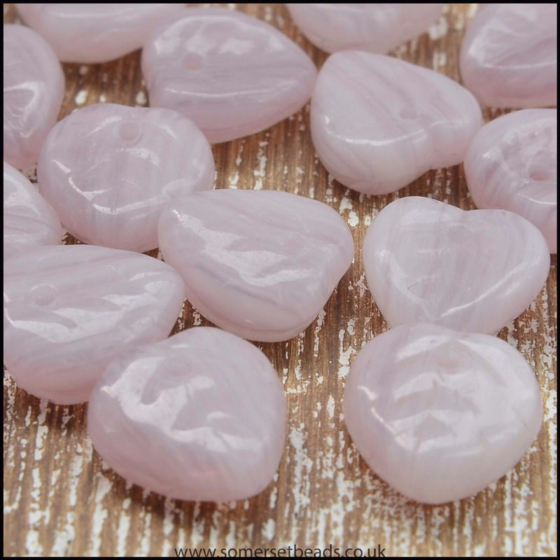 Czech Glass Pressed Leaf Shaped Beads - Lilac