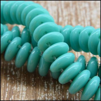 Twin Hole Czech Glass Lentil Beads - Turquoise