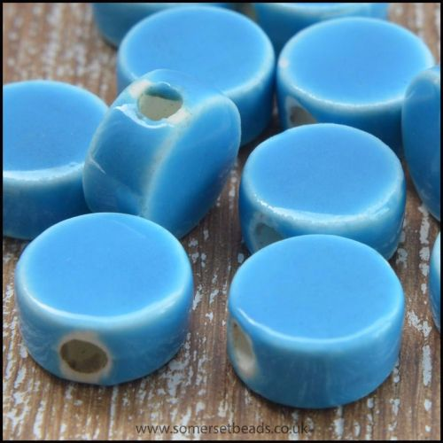 9mm Sky Blue Glazed Ceramic Disc Beads