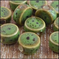 9mm Green Fancy Glazed Ceramic Disc Beads