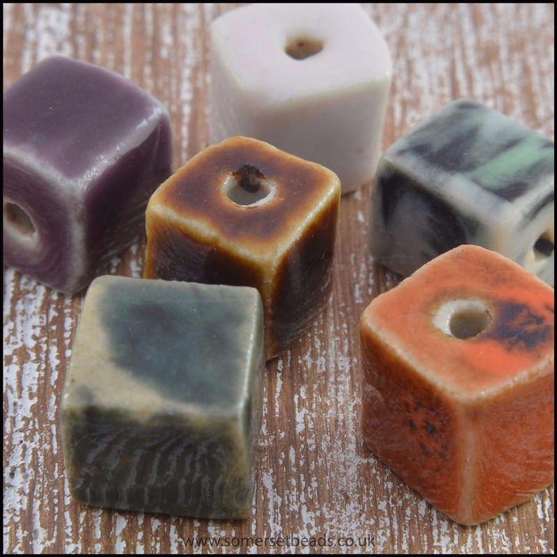 Antique Glazed Ceramic  Cube Beads