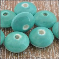 12mm Ceramic Glazed Saucer Beads - Turquoise