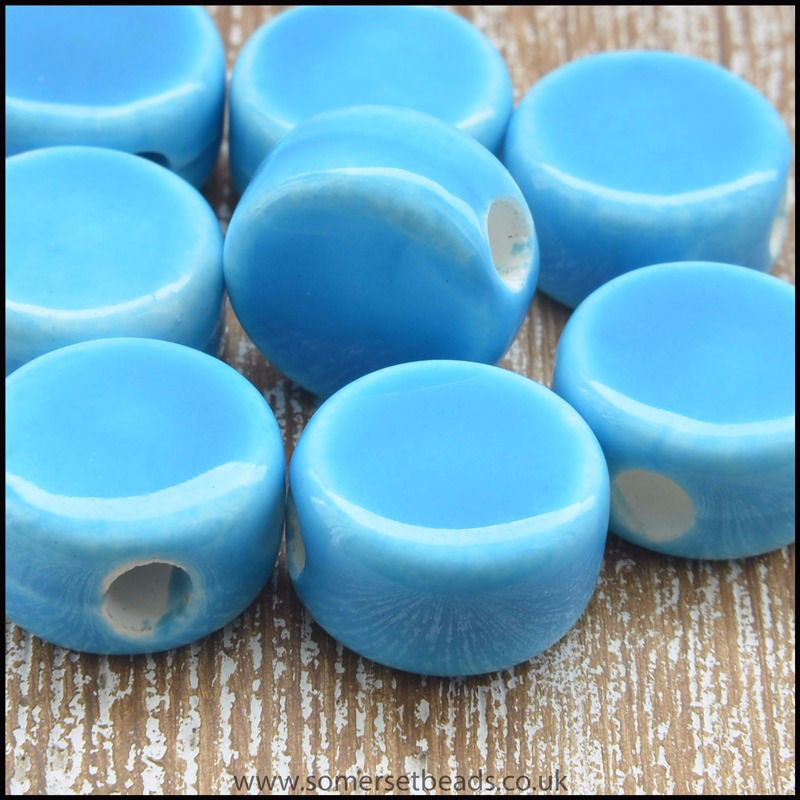 12mm Sky Blue Ceramic Disc Beads