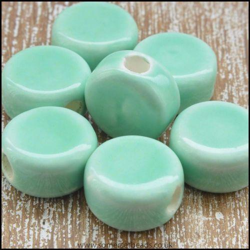 Ceramic Disc Beads 12mm Aquamarine