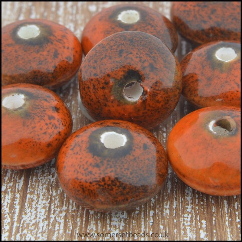 Ceramic Glazed Saucer Beads, 12mm - Rust