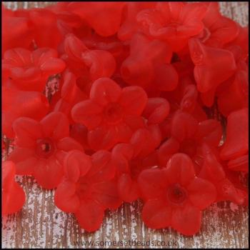 10mm Red Lucite Flower Beads