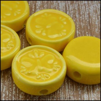 17mm Yellow Glazed Ceramic Flat Round Butterfly Disc Beads