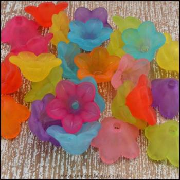 14mm Mixed Lucite Flower Beads