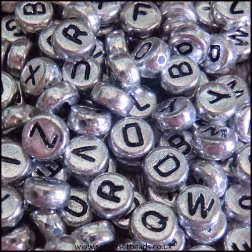 Silver Flat Round Letter Beads