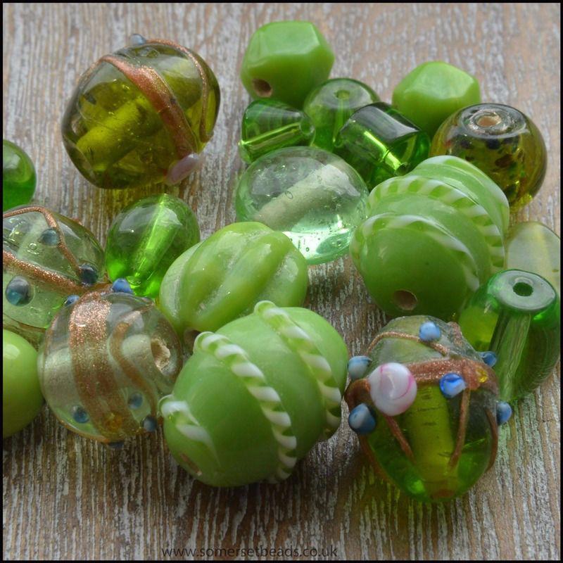Peridot Indian Glass Bead Mix