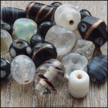 Black and White Indian Glass Bead Mix