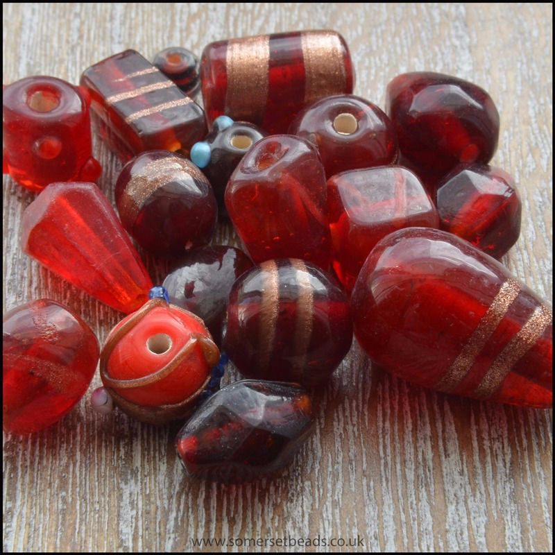 Red Indian Glass Bead Mix