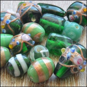 Green Indian Glass Bead Mix