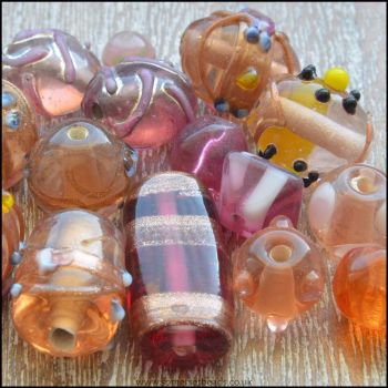 Pink Indian Glass Bead Mix