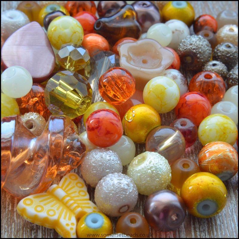 100g Mixed Beads Autumn Shades