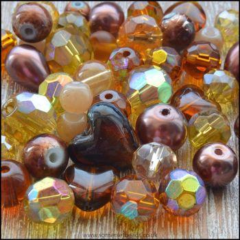 Golden Brown Glass Bead Mix
