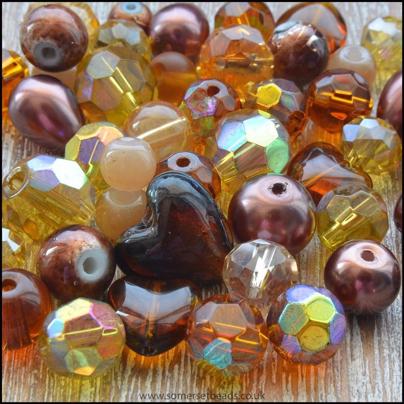 Golden Brown Glass Bead Mix