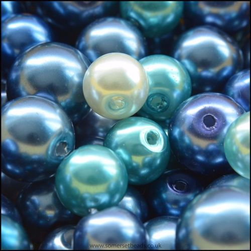 Blue Glass Pearl Bead Mix